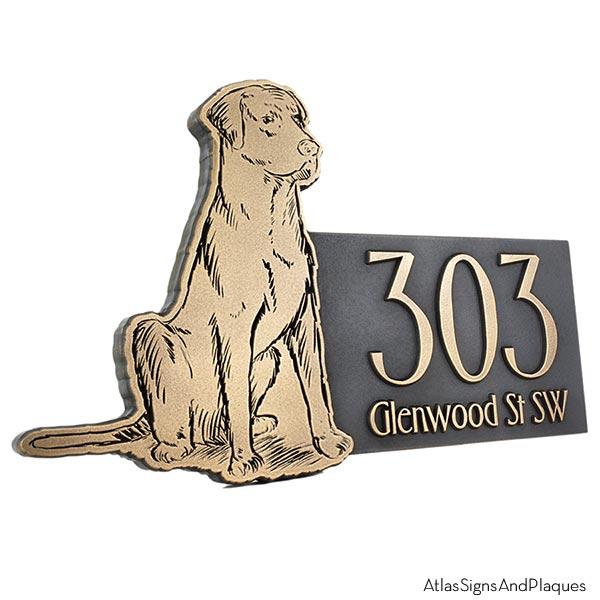 Dog Shaped Custom Canine Sign - Brass Labrador