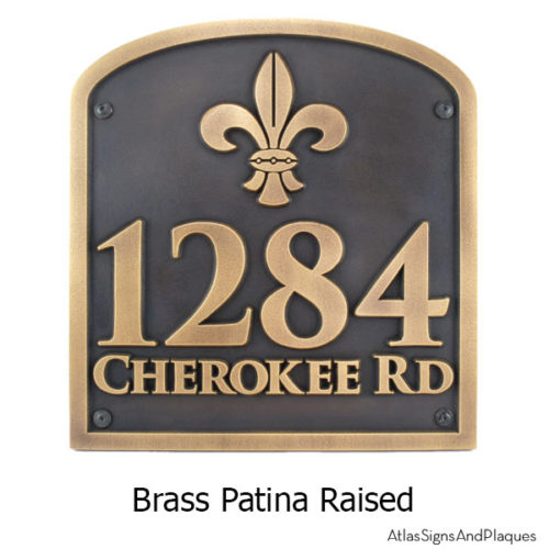 Fleur de Lis Address Plaque - Brass Shown with Optional T30 Screws