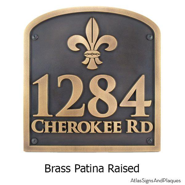 Fleur de Lis Address Plaque - Brass Shown with Optional T30 Screws
