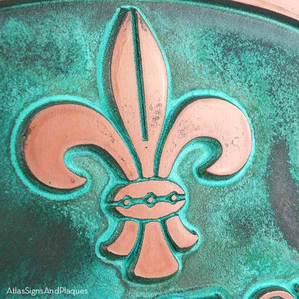 Fleur de Lis Address Plaque - Copper Verdi Detail