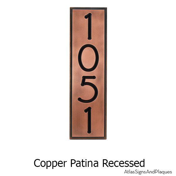 Frank Lloyd Vertical Home Numbers - Copper