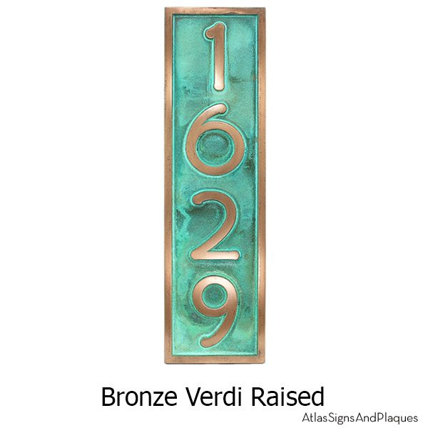 Frank Lloyd Vertical Home Numbers - Bronze Verdi
