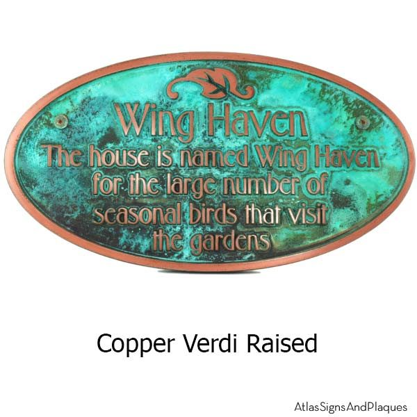 Garden Dedication Plaque - Copper Verdi Shown with Optional T30 Screws