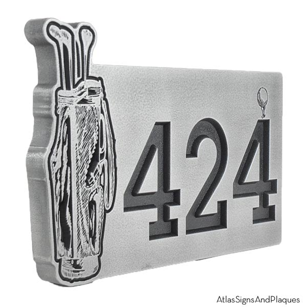 Golf Pro Address Plaque - Pewter