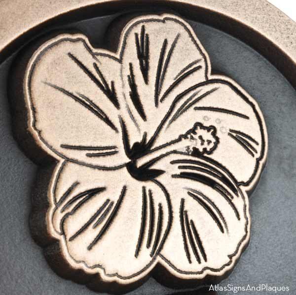 Hawaiian Hibiscus Historic Plaque - Bronze Detail