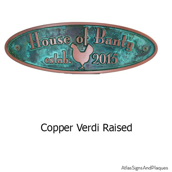 Hen House Plaque - Copper Verdi Shown with Optional T30 Screws