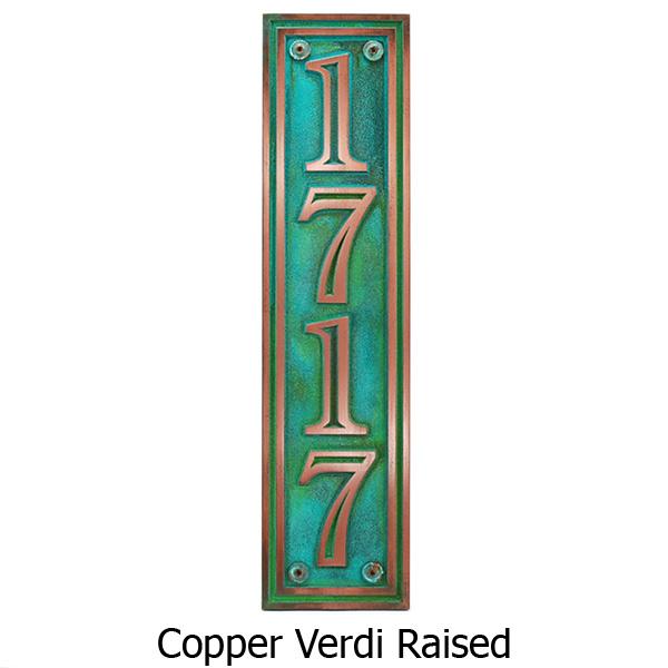 Hesperis Vertical Address Plaque - Copper Verdi Shown with Optional T30 Screws
