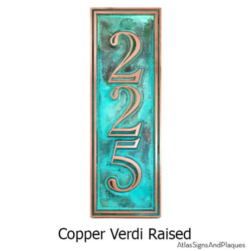 Hesperis Vertical Address Plaque - Copper Verdi