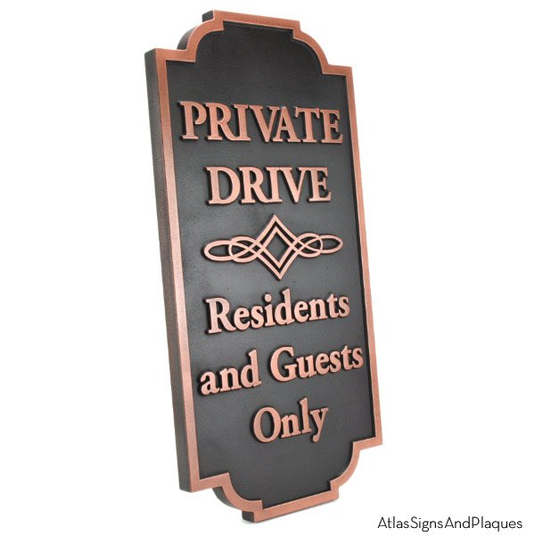 Home Owners Association Private Drive HOA Sign - Copper