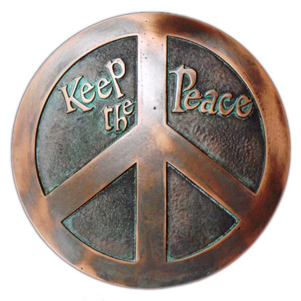 Peace Sign & Plaque - Bronze Verdi