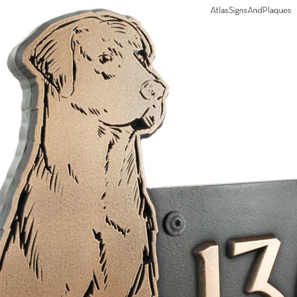 Dog Shaped Custom Canine Sign - Bronze Labrador Detail Shown with Optional T30 Screws