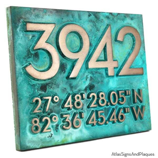 Latitude Longitude Address Number Plaque - Bronze Verdi