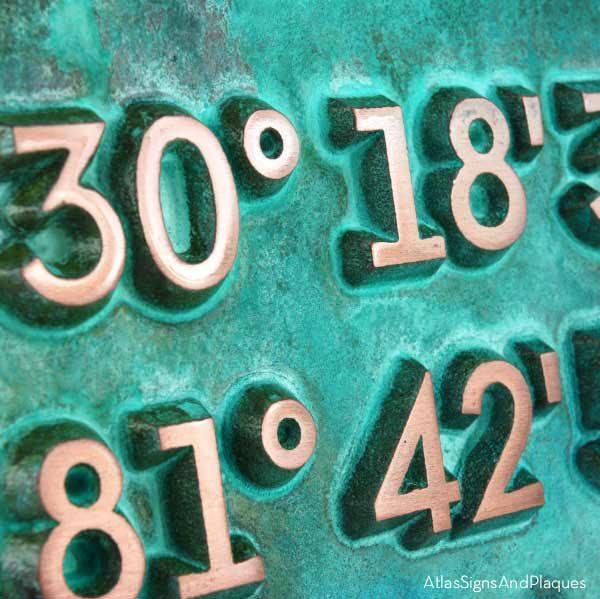 Latitude Longitude Address Number Plaque - Copper Verdi Detail