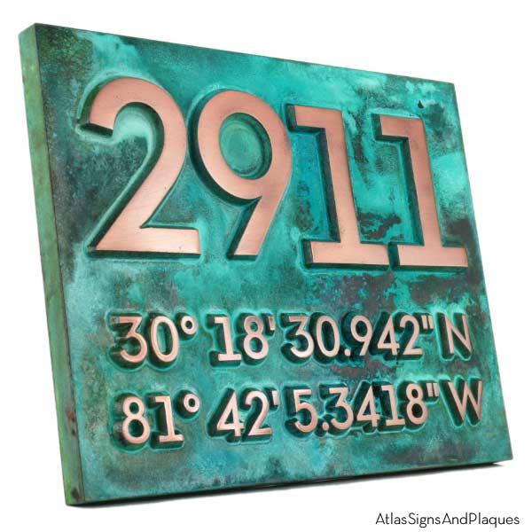 Latitude Longitude Address Number Plaque - Copper Verdi