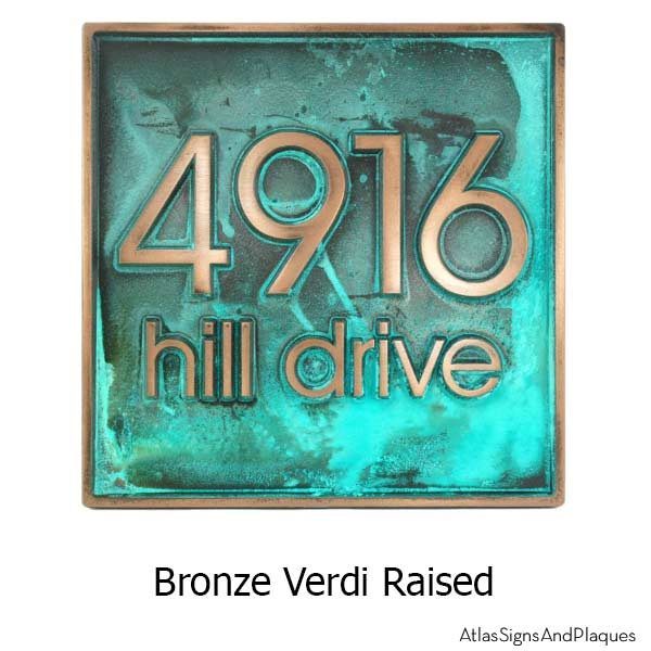 Modern Advantage Address Plaque - Bronze Verdi