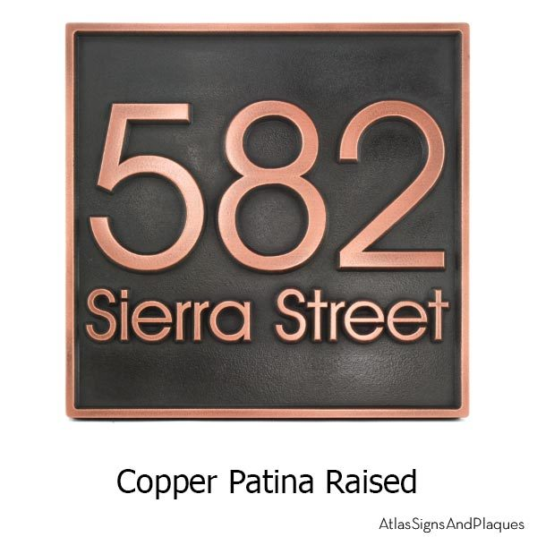 Modern Advantage Address Plaque - Copper