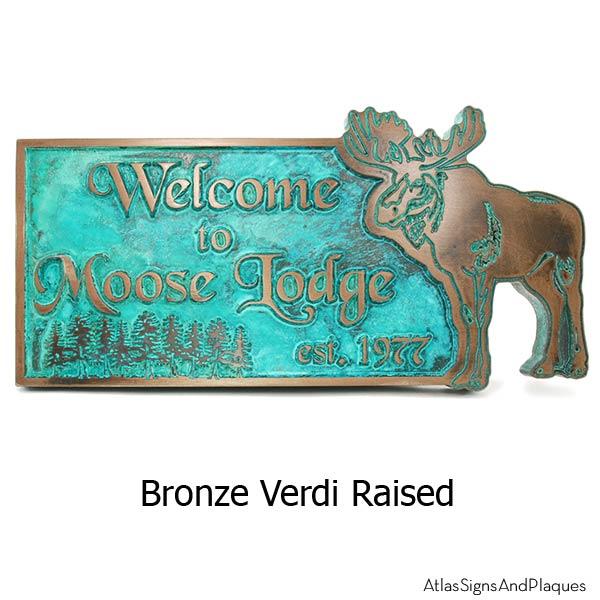 Moose Lodge Welcome Plaque - Bronze Verdi