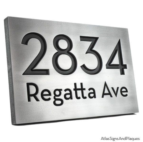 Neutraface Street Address Plaque No Border - Pewter