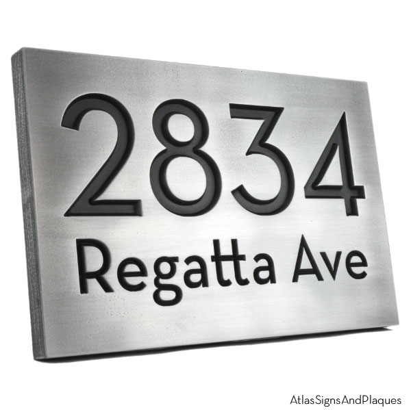 Neutraface Street Address Plaque No Border - Pewter