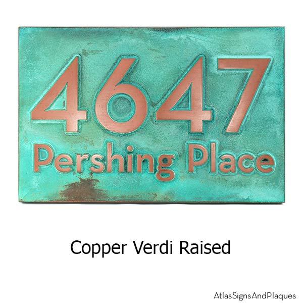Neutraface Street Address Plaque No Border - Copper Verdi
