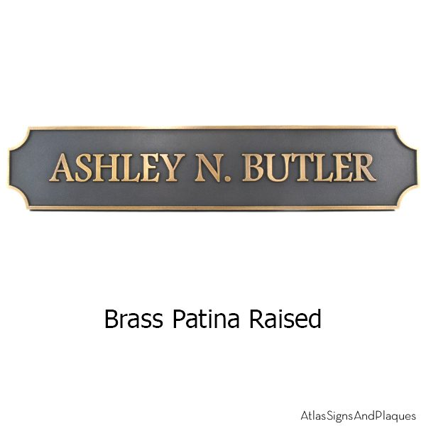 Notched Corner Name Plaque - Brass