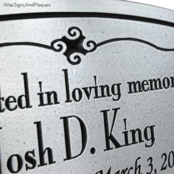 Oval Memorial Plaque - Pewter Detail
