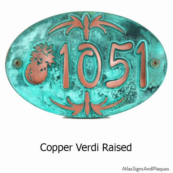 Oval Pineapple Plaque - Copper Verdi