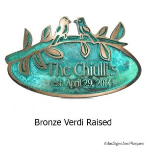 Oval Birds on a Branch - Bronze Verdi