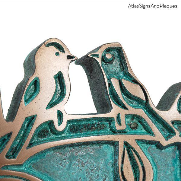 Oval Birds on a Branch - Bronze Verdi Detail