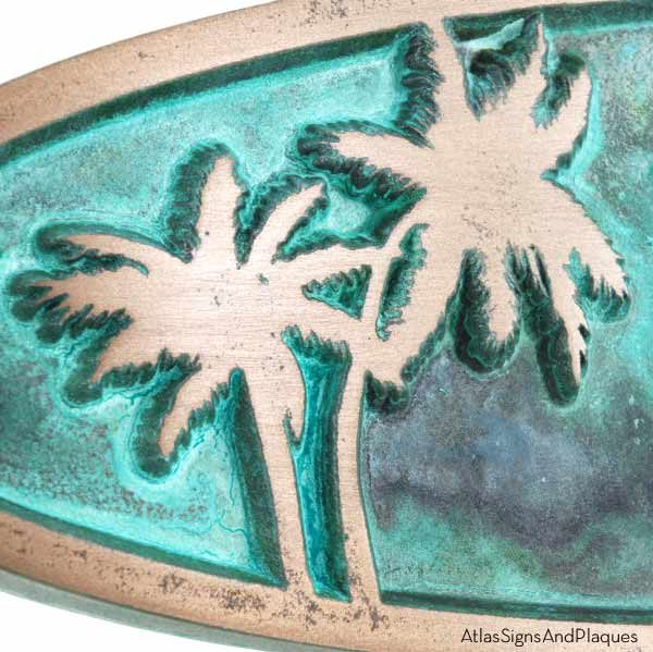 Palm Tree Plaque - Bronze Verdi Detail