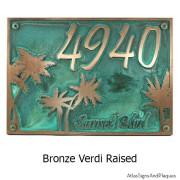 Palm Tree Address Plaque - Bronze Verdi