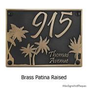 Palm Tree Address Plaque - Brass Shown with Optional T30 Screws
