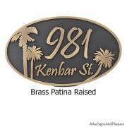 Palm Tree Address Plaque - Brass