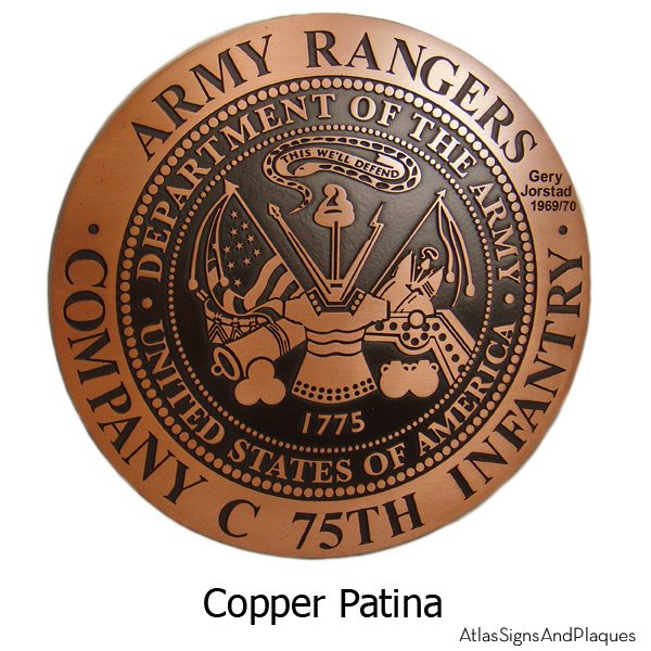 Personalized Military Plaque - Copper