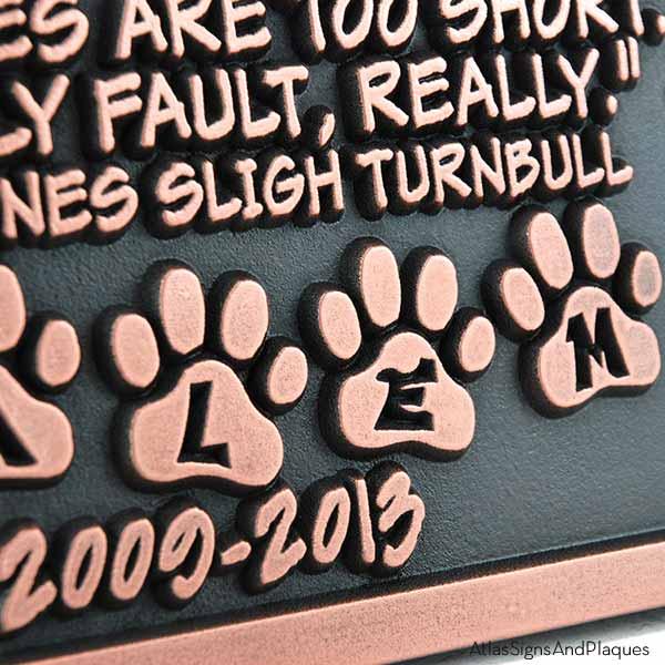Pet Memorial Plaque - Copper Detail