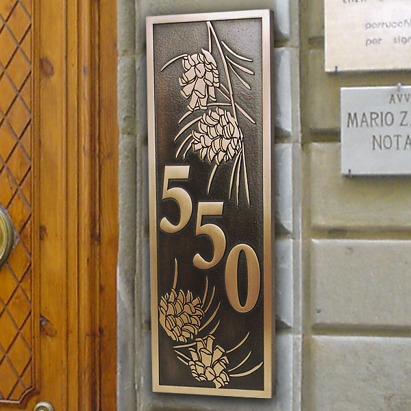 Pine Cone Vertical Plaque - Bronze
