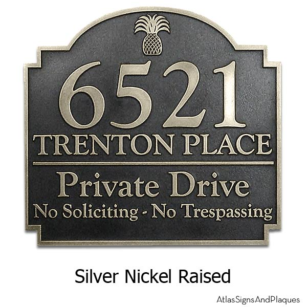 Pineapple Private Drive Sign - Silver Nickel