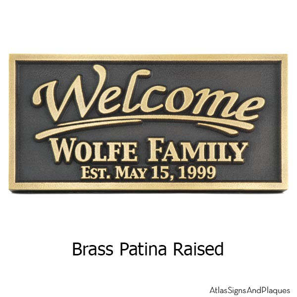 Rectangle Welcome Plaque - Brass