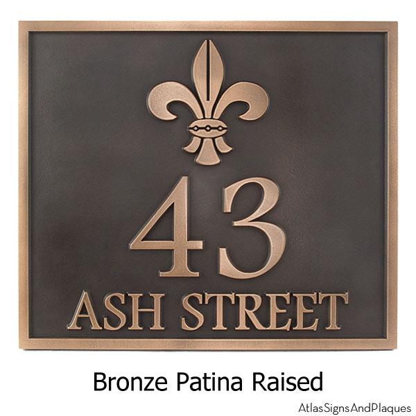 Rectangular Fleur de Lis Address Plaque - Bronze