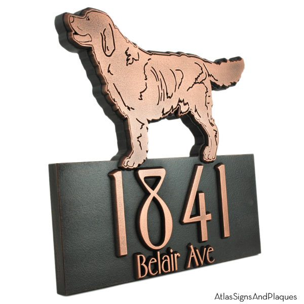 Dog Shaped Custom Canine Sign - Copper Retriever