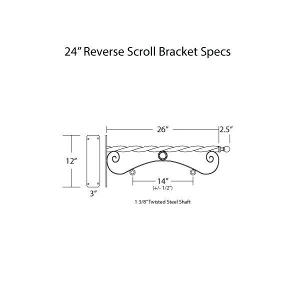 """24"""" Reverse Scroll Bracket Specs"""