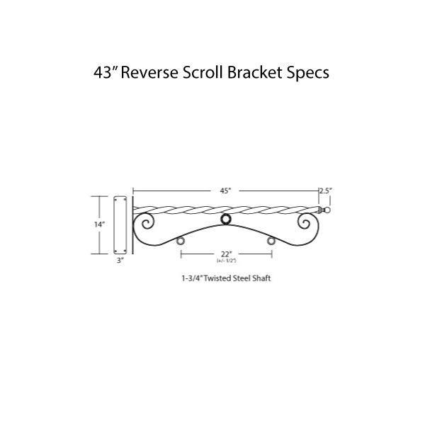 """43"""" Reverse Scroll Bracket Specs"""