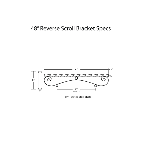 """48"""" Reverse Scroll Bracket Specs"""