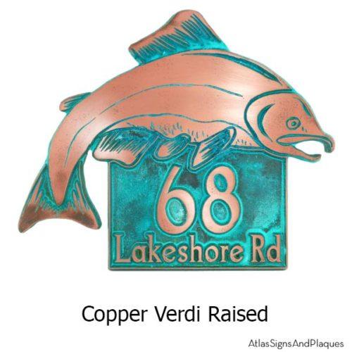 Salmon Fish Address Plaque - Copper Verdi