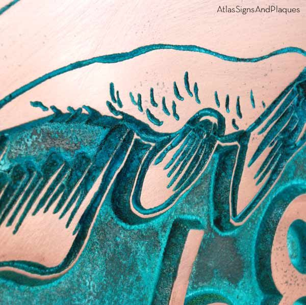 Salmon Fish Address Plaque - Copper Verdi Detail