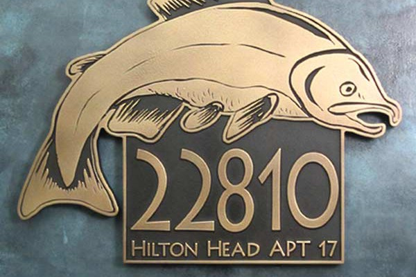 Salmon Fish Address Plaque - Brass