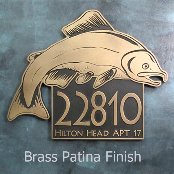 Salmon Fish Address Plaque - Brass