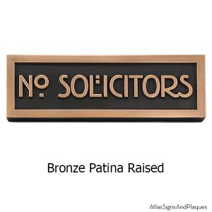 Stickley No Solicitors - Bronze