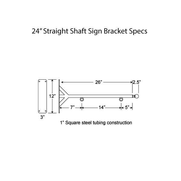 "24"" Straight Shaft Bracket Specs"