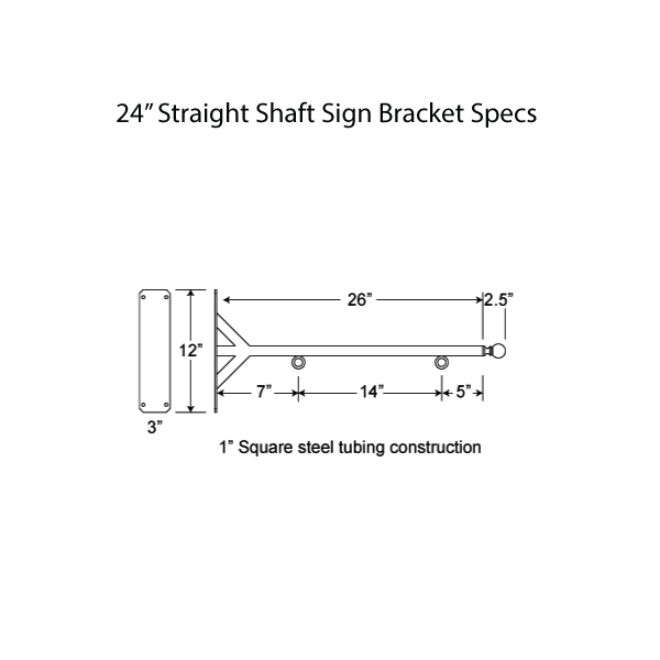 "24"" Straight Shaft Bracket Specs"